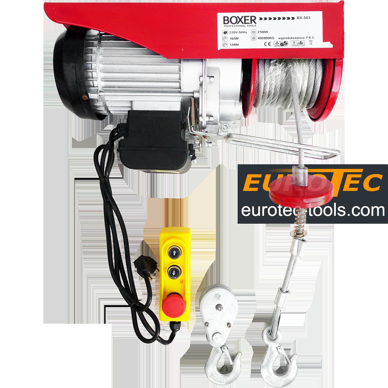 Тельфер 800 кг / 400 кг, 6/12 м Boxer BX-563 электрический тельфер электроталь электрическая лебёдка