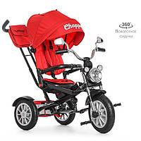 Дитячий велосипед M 4056-1 триколісний, колеса надувні, червоний, фото 1