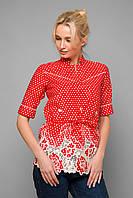 Блуза с прошвой и кантами KATI красная