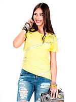 Футболка женская желтая спереди удлиненная M Cipo&Baxx