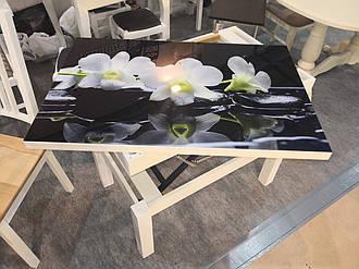 Стіл транформер Флай білий скло 16_320 (орхідея)