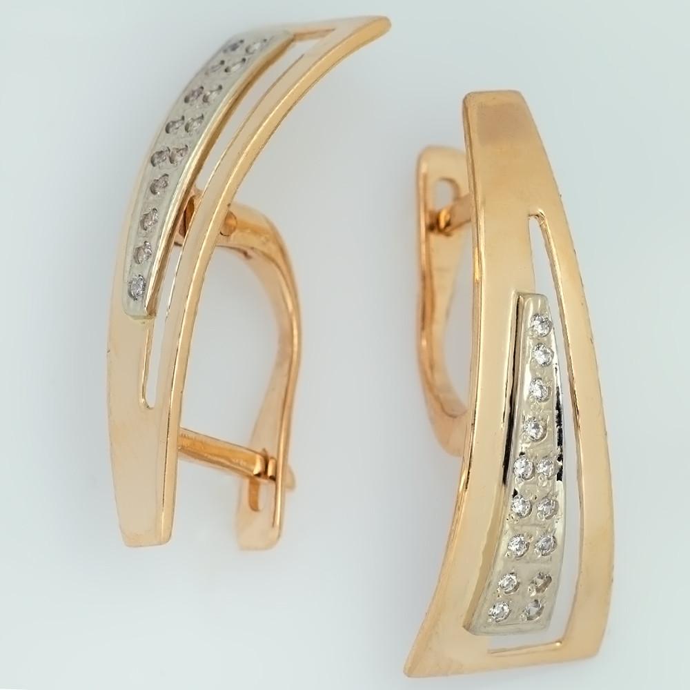 Золотые серьги дорожка с фианитами СП255