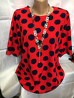 Блуза женская летняя красная в горошек