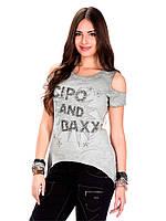 Футболка женская с логотипом и бусинами L Cipo&Baxx