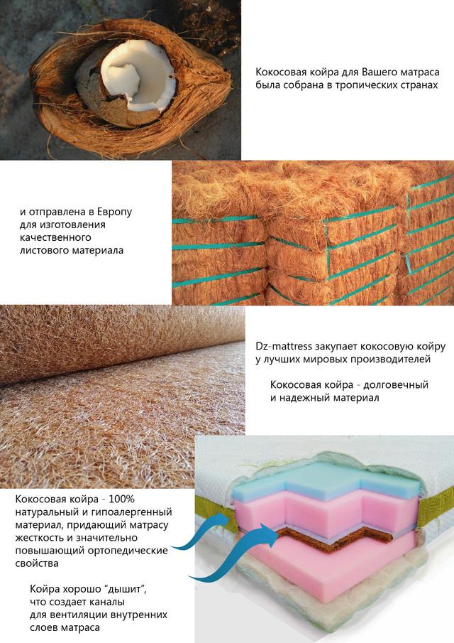 Кокосовая койра, матрас Сейв плюс, серия Sport, производитель Dz-mattress