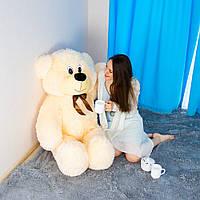 Мягкий плюшевый мишка Федя 160см персиковый с бантом. Большой медведь. Мягкая игрушка плюшевый мишка 1,6м