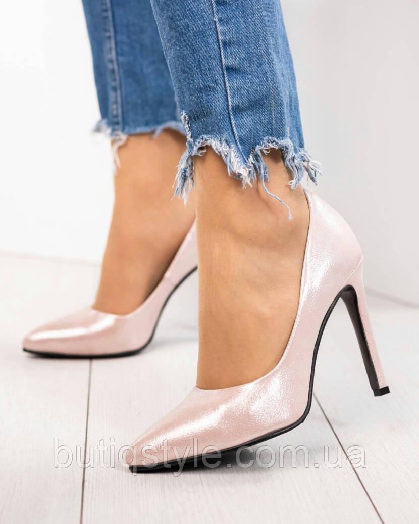 36 размер Крутые женские туфли-лодочки светлая пудра натуральная кожа сатин