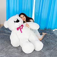 Белый мягкий мишка Федя 160см с бантиком на подарок. Большой медведь. Мягкая игрушка плюшевый мишка 1,6 метра