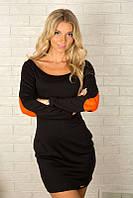 Женское мини-платье с длинным рукавом 870 Черное
