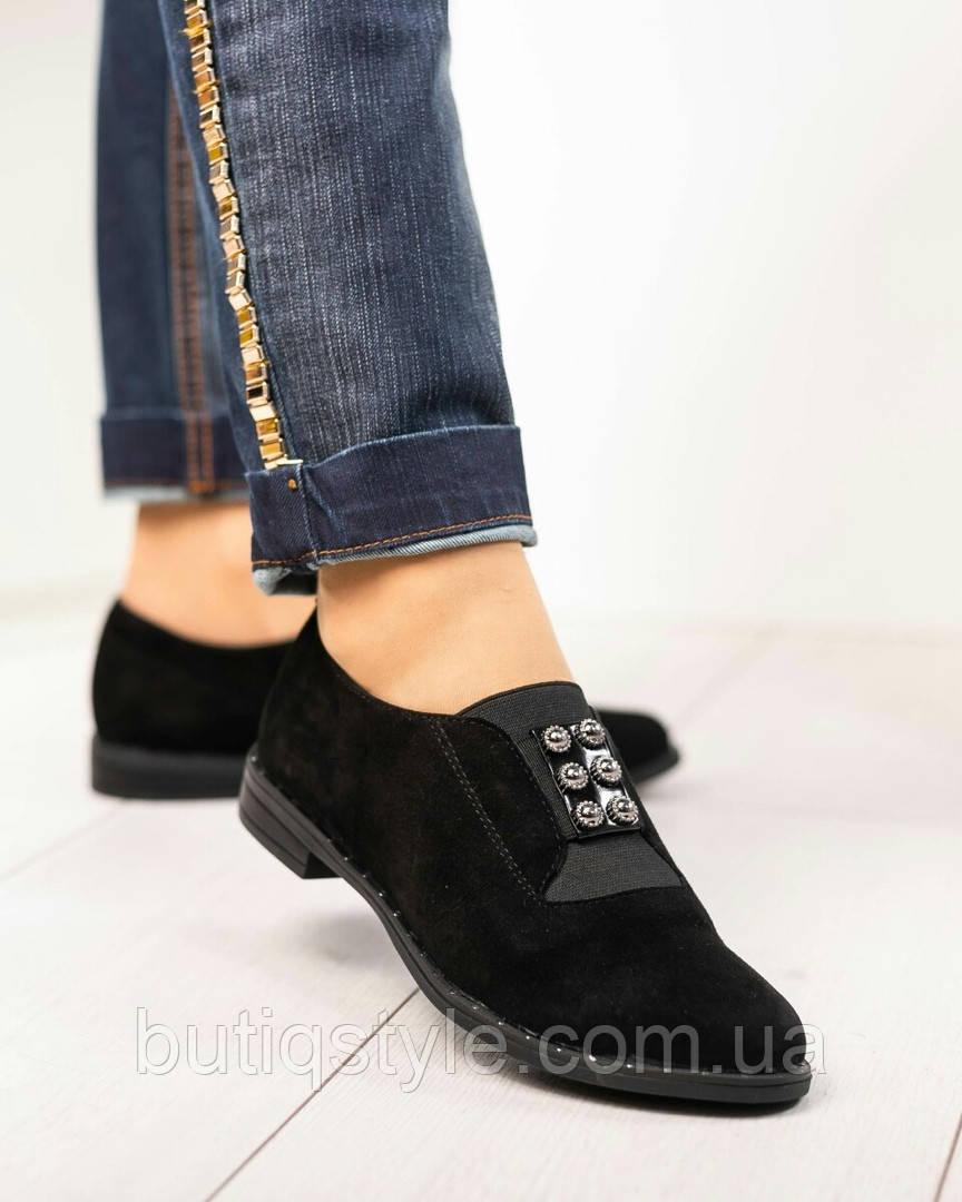Женские черные туфли натуральный замш, на низком ходу
