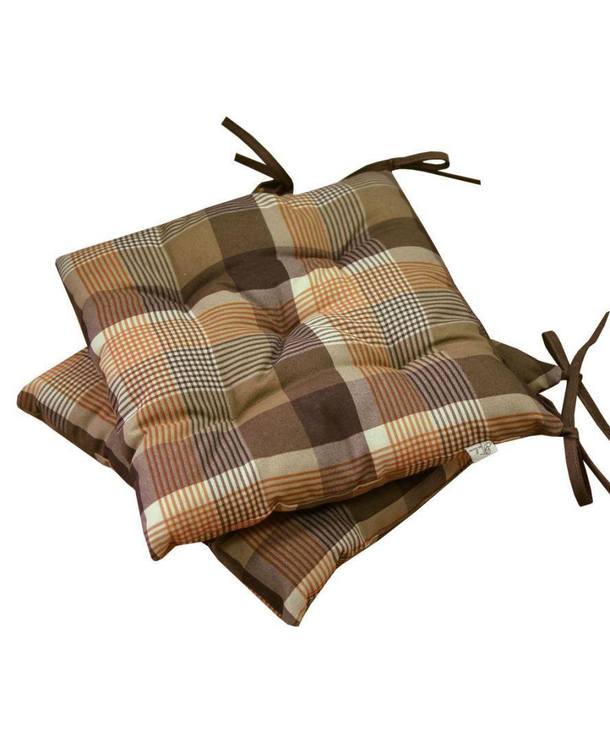"""Подушка на стілець """"Toffee"""" коричнева клітинка 40х40см"""