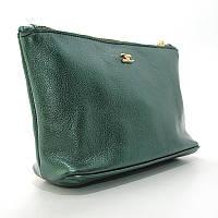 Косметичка кожаная женская зеленая перламутр, ручная работа 080