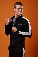 Спортивный костюм мужской Фила с лампасами, цвет черный, фото 1