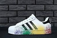 Кроссовки женские белые кожаные Adidas Superstar Pride Pack Адидас Суперстар