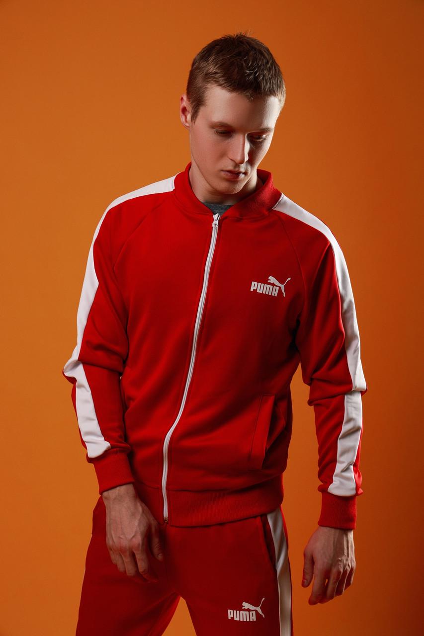 Спортивный костюм мужской Пума с лампасами весенне/осенний, цвет красный, фото 1