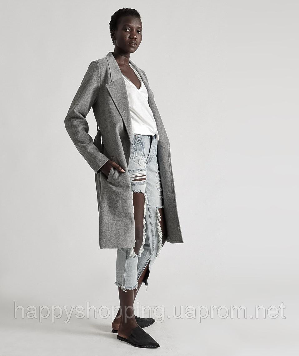 Женское стильное шерстяное серое пальто OneTeaspoon