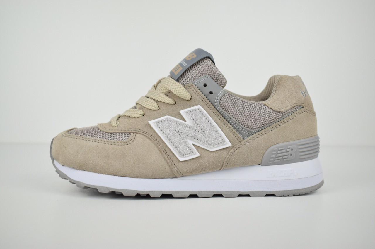 Женские кроссовки New Balance 574 серо-коричневые + серебристая N