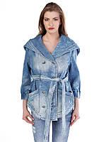Куртка джинсовая женская с большим капюшоном L Cipo&Baxx