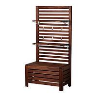 ÄPPLARÖ  Садовая скамья+панель/полки, коричневый коричневая морилка