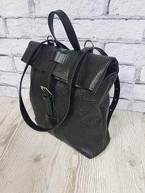 """Рюкзак-сумка """"Бонд"""" натуральная кожа, черный флотар"""