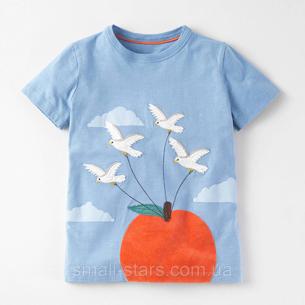 87593c5035883 Футболка для девочки, голубая. Голуби. - Интернет-магазин товаров для детей