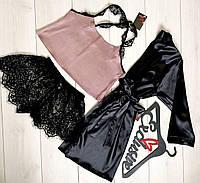 Шовковий халат+піжама з мереживними шортами, одяг ТМ Exclusive.