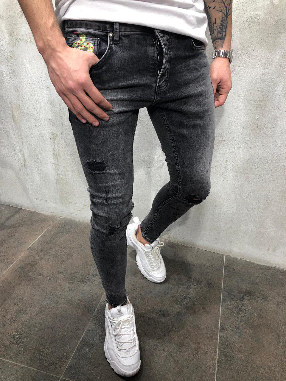 44cefba670d Мужские джинсы зауженные темно-серые B4462 - Компания