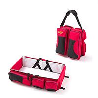 Багатофункціональна дитяча сумка-ліжко SUNROZ Baby Bed and Bag органайзер для подорожей Червоний (SUN3598)