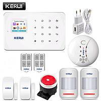 Беспроводная GSM сигнализация Kerui G18 русское меню + датчик дыма. Комплект 3