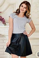 Кожаная юбка из экокожи, фото 1