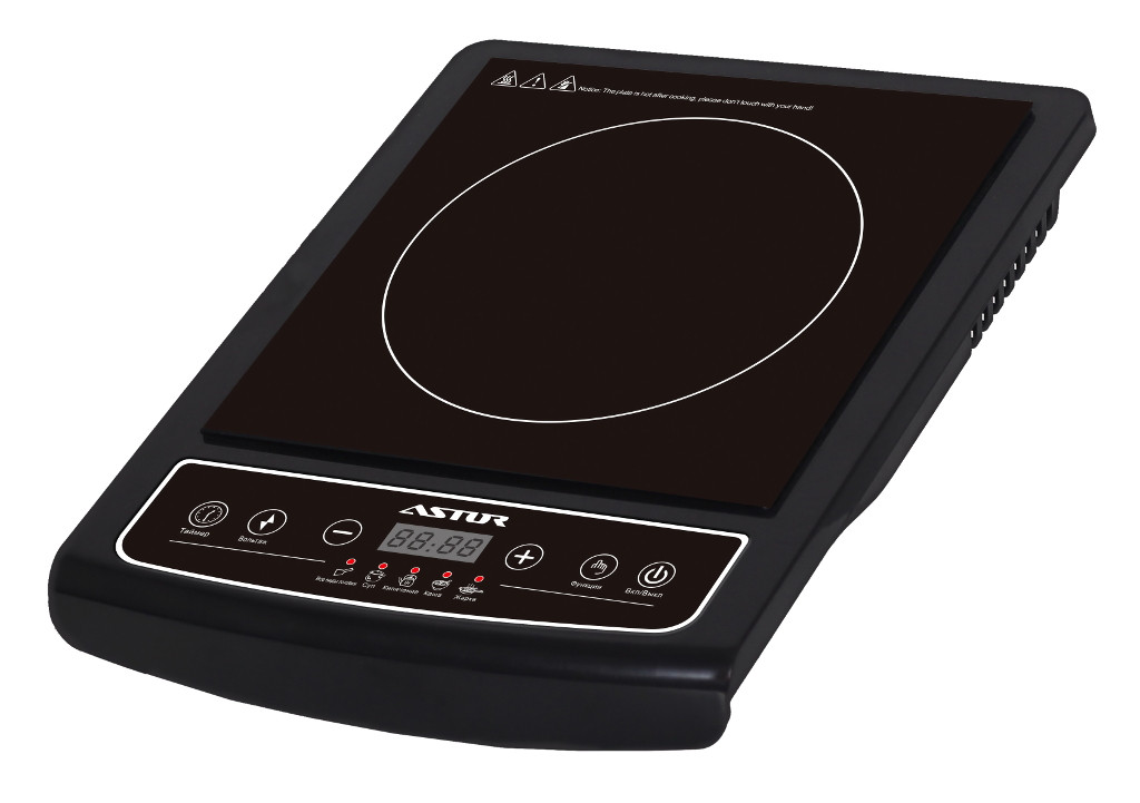 Электроплита ASTOR IDC-18205 Black 2000W, стеклокерамика, 1 комфорка, настольная кухонная плита электрическая, електроплита