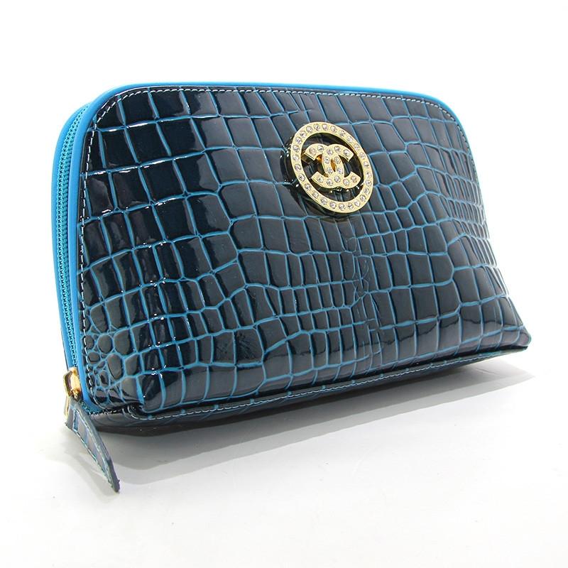 Косметичка кожаная женская клатч синяя Chanel 912