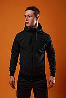 Спортивный костюм мужской весенний/осенний с черными лампасами, цвет темно-серый (антрацит)