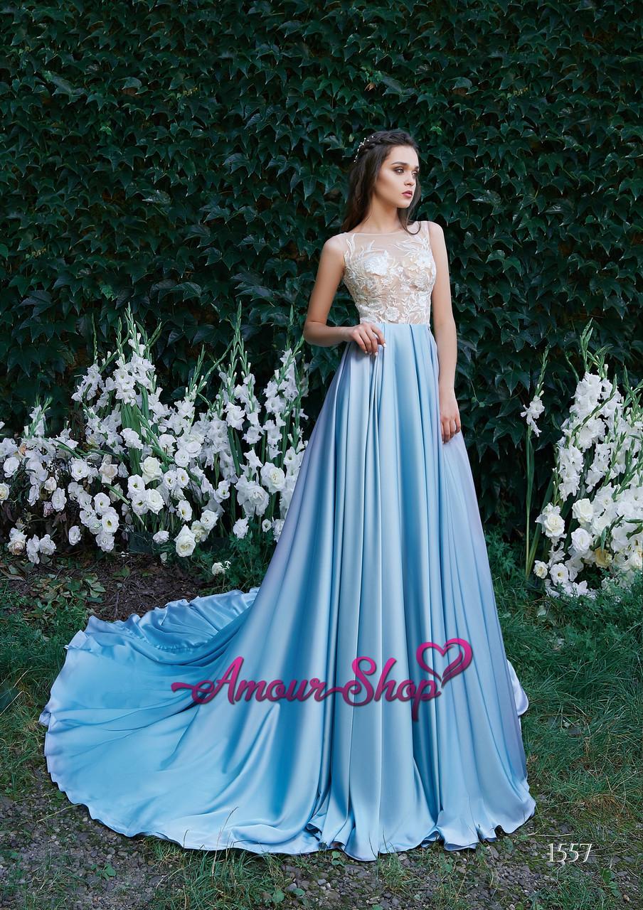 Вечірнє (випускне) плаття з прозорим корсетом