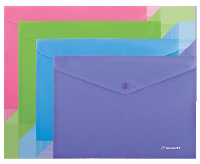 Папка-конверт А4 на кнопці, BAROCCO, непрозора, асорті