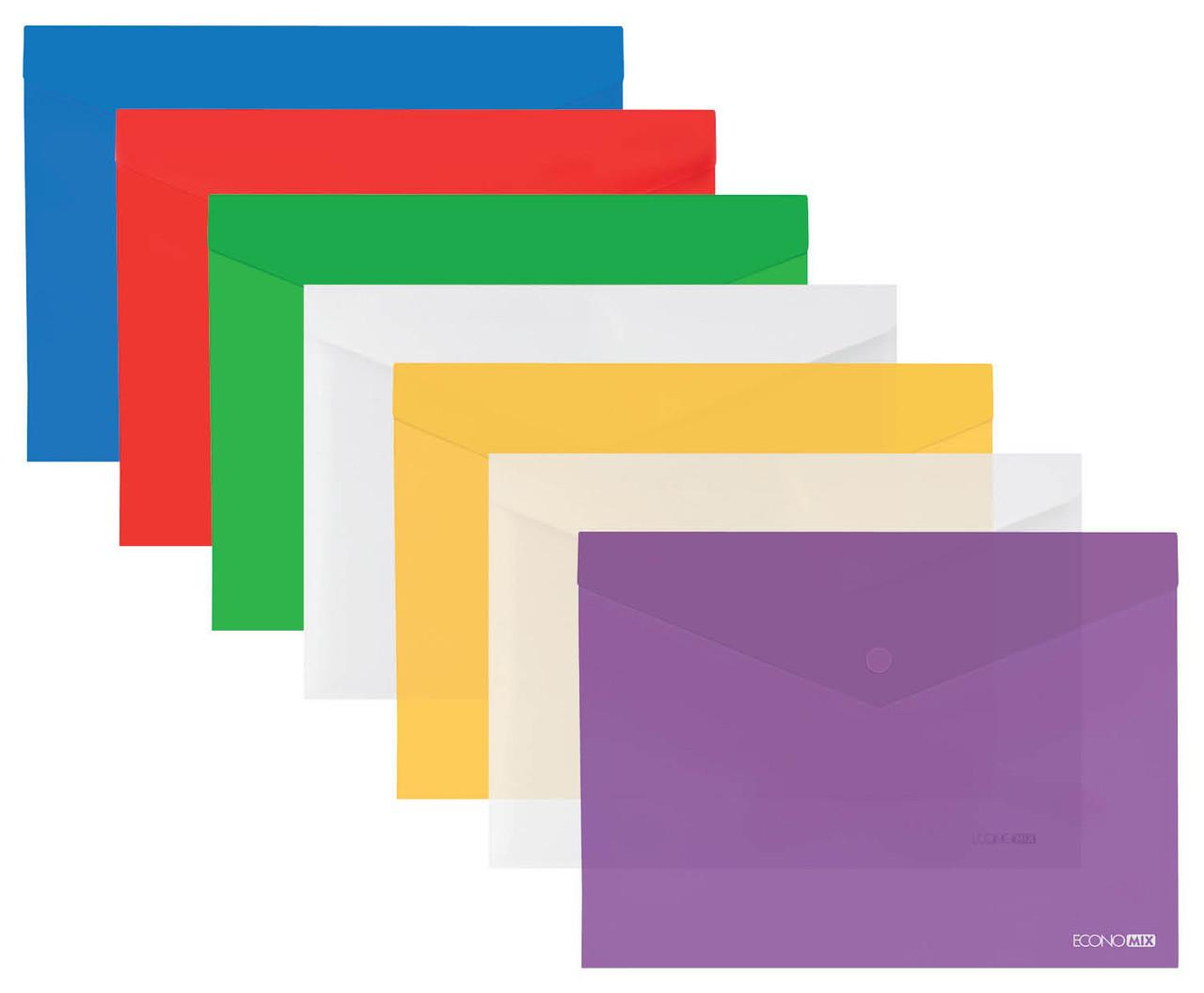 "Папка-конверт А5 прозора на кнопці Economix, 180 мкм, фактура ""глянець"""
