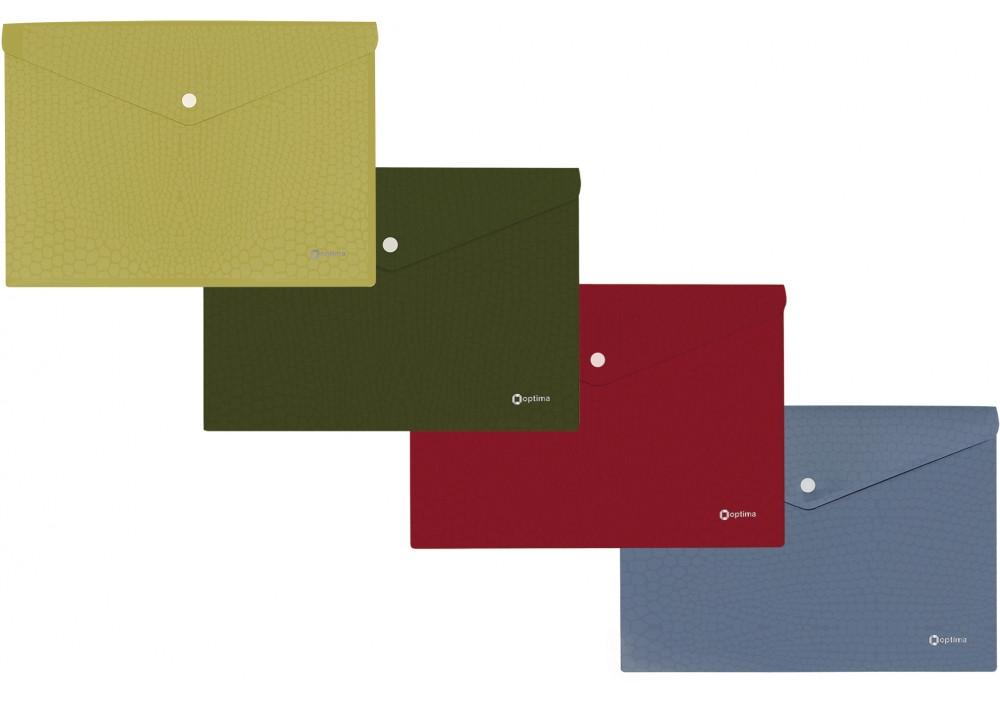 "Папка-конверт А4 непрозора  на кнопці Optima ""Varan"", 180 мкм, асорті"