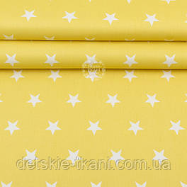 """Ткань шириной 240 см """"Одинаковые звёзды 3 см"""" белые на жёлтом №2013"""