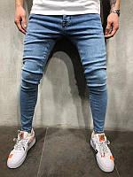 Мужские стильные джинсы, светло синие