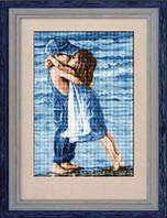 Набор для рисования камнями (холст) «Дети на пляже» LasKo