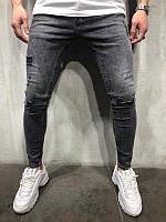 Мужские стильные джинсы, черные