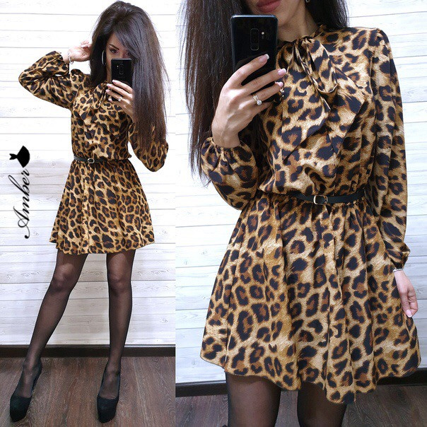 Платье леопардовое из софта Лео с поясом в комплекте (3 цвета)