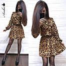 Платье леопардовое из софта Лео с поясом в комплекте (3 цвета), фото 3