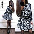 Платье леопардовое из софта Лео с поясом в комплекте (3 цвета), фото 4
