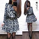 Платье леопардовое из софта Лео с поясом в комплекте (3 цвета), фото 5
