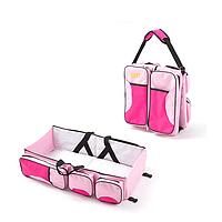 Багатофункціональна дитяча сумка-ліжко SUNROZ Baby Bed and Bag органайзер для подорожей Рожевий (SUN3599)