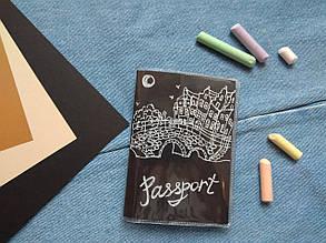 ПВХ обложка на паспорт ручной работы Ночной город