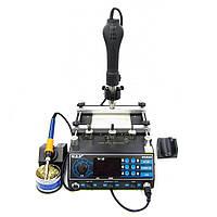 ИК Преднагреватель плат с феном и паяльником WEP 853AAA (Размер нагревателя 120 x 120 мм, фен с держателем)