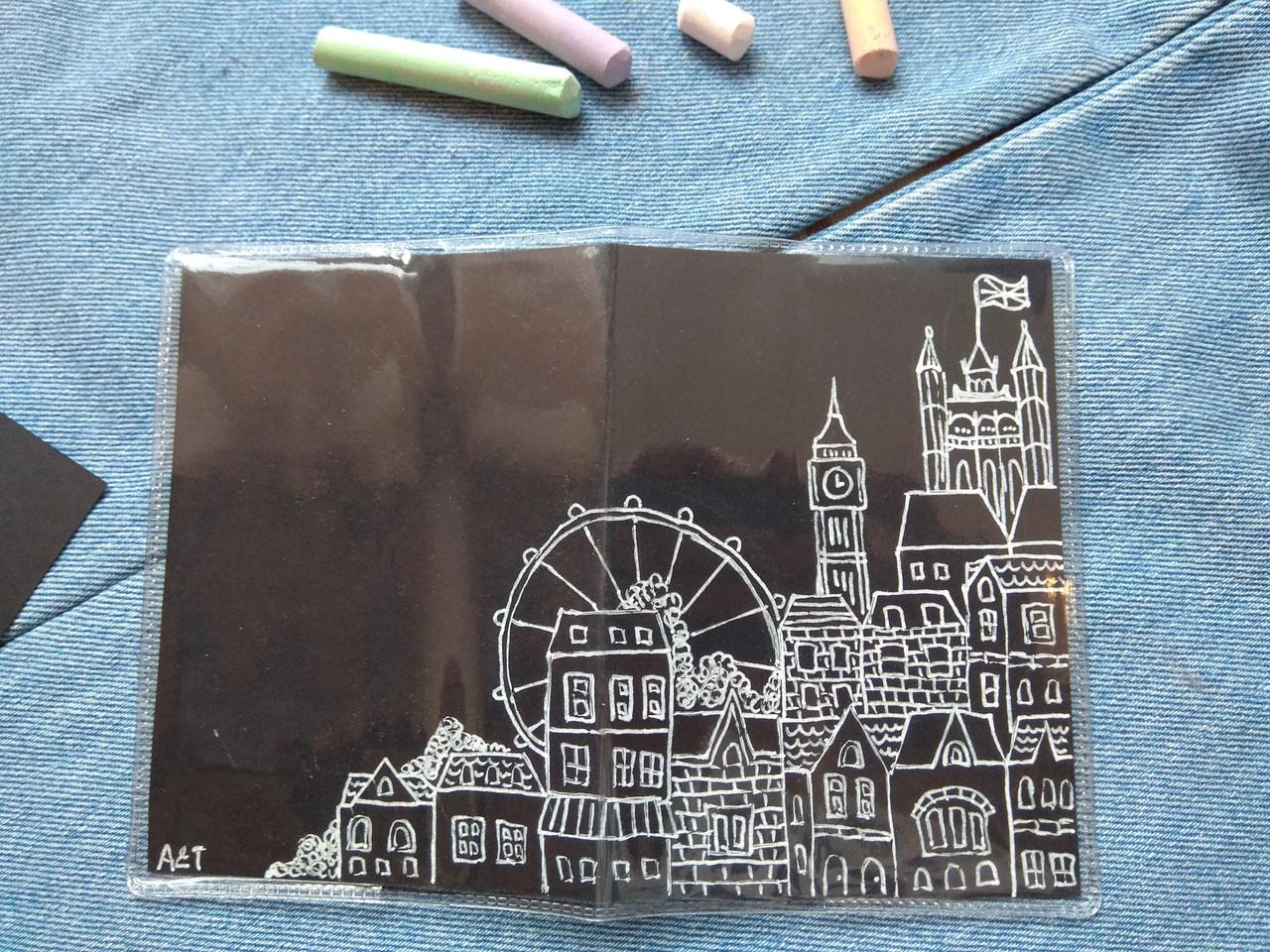 ПВХ обложка на паспорт ручной работы Лондон