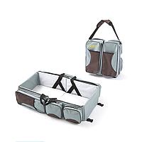Багатофункціональна дитяча сумка-ліжко SUNROZ Baby Bed and Bag органайзер Сіро-Коричневий (SUN3603)